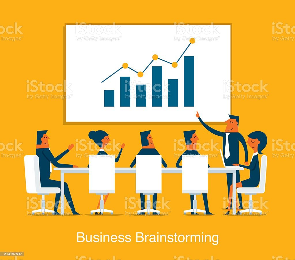 Business Brainstorming vector art illustration