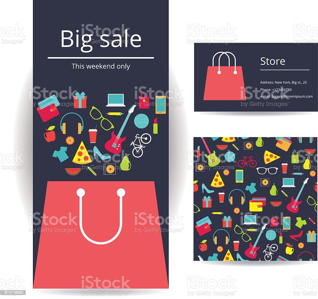 Business brochure flyer banner, business card and square card vector art illustration