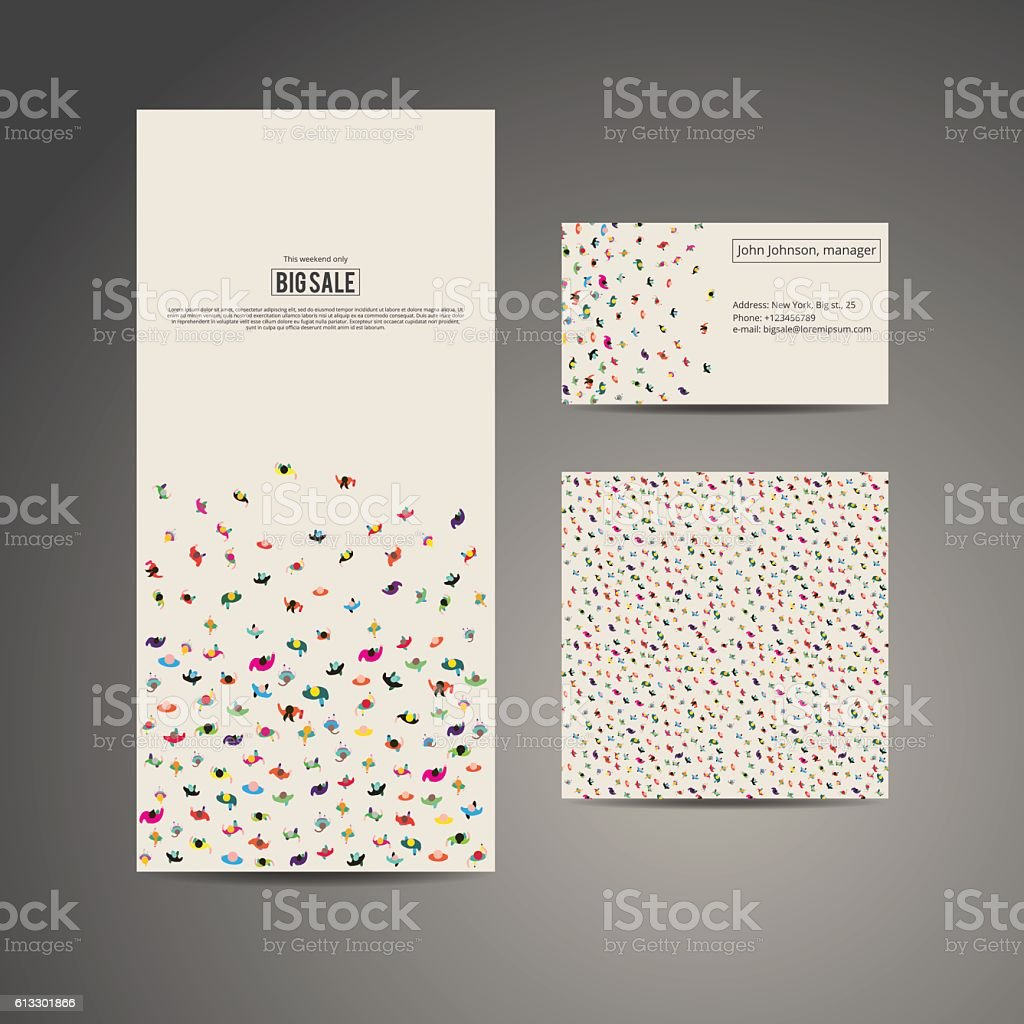 Business brochure flyer, business card and card with pattern vector art illustration