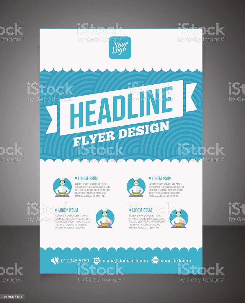 Business brochure or offer flyer design template. vector art illustration