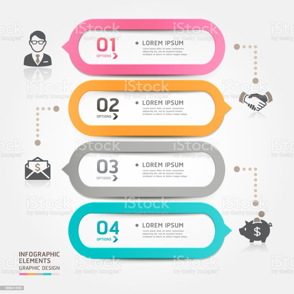 Business bubble speech template with four sections royalty-free stock vector art