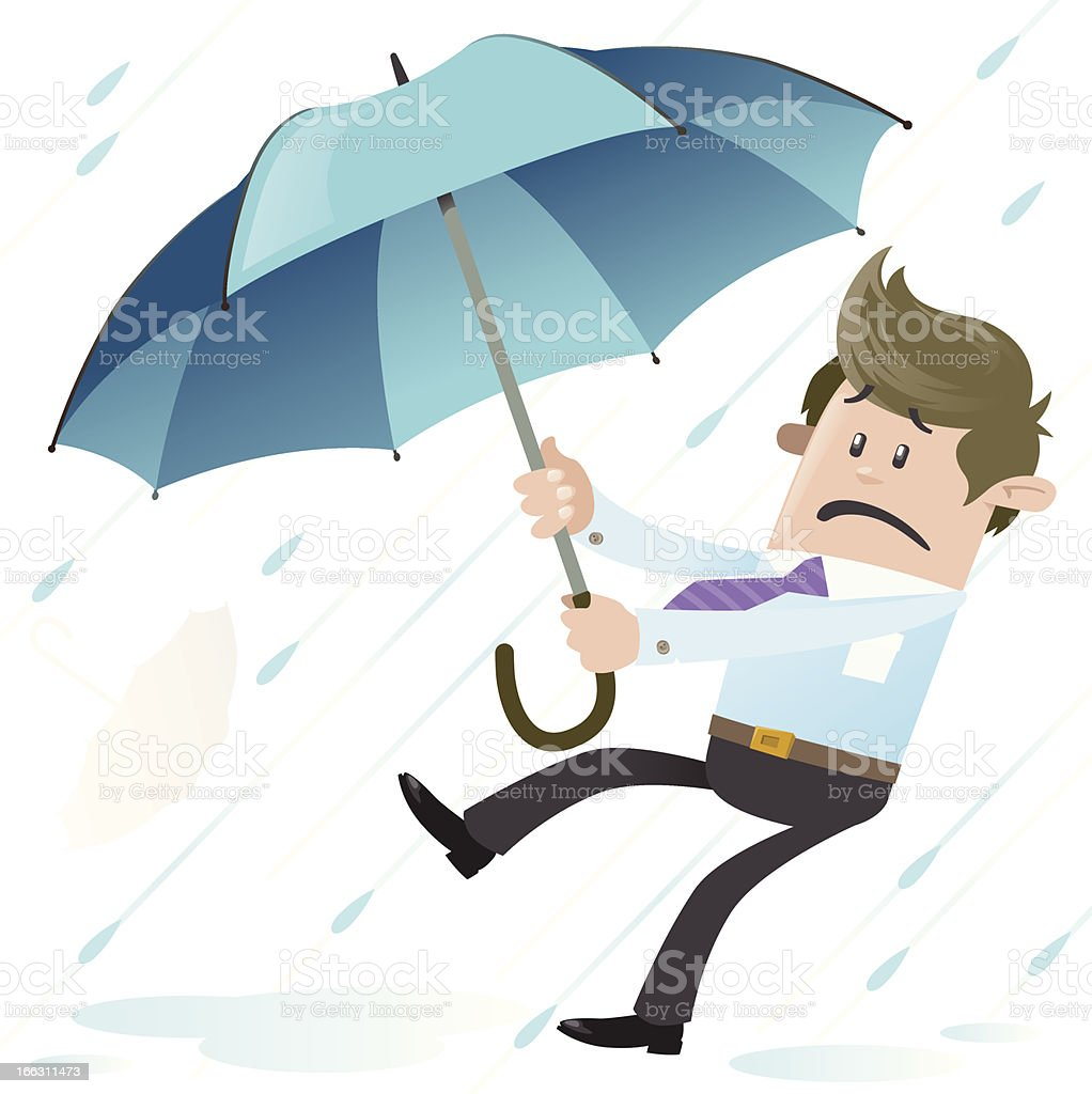 Business Buddy blown away with Umbrella vector art illustration