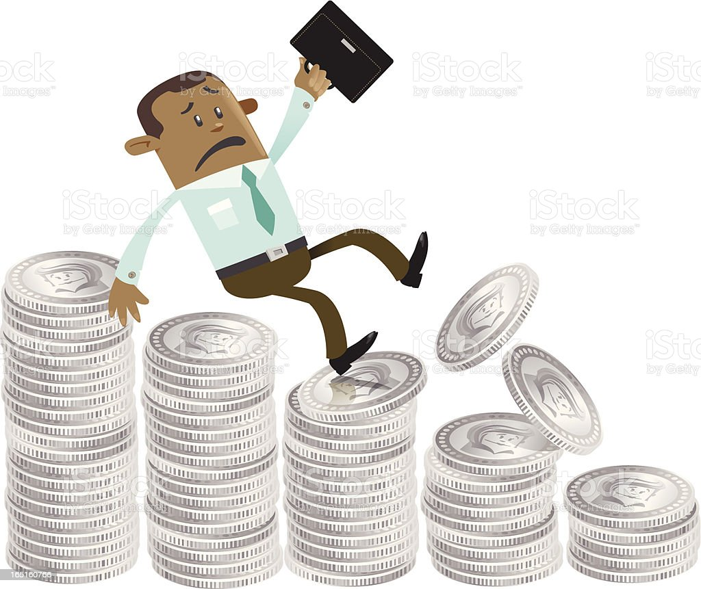 Business Buddy falls down the money hill vector art illustration