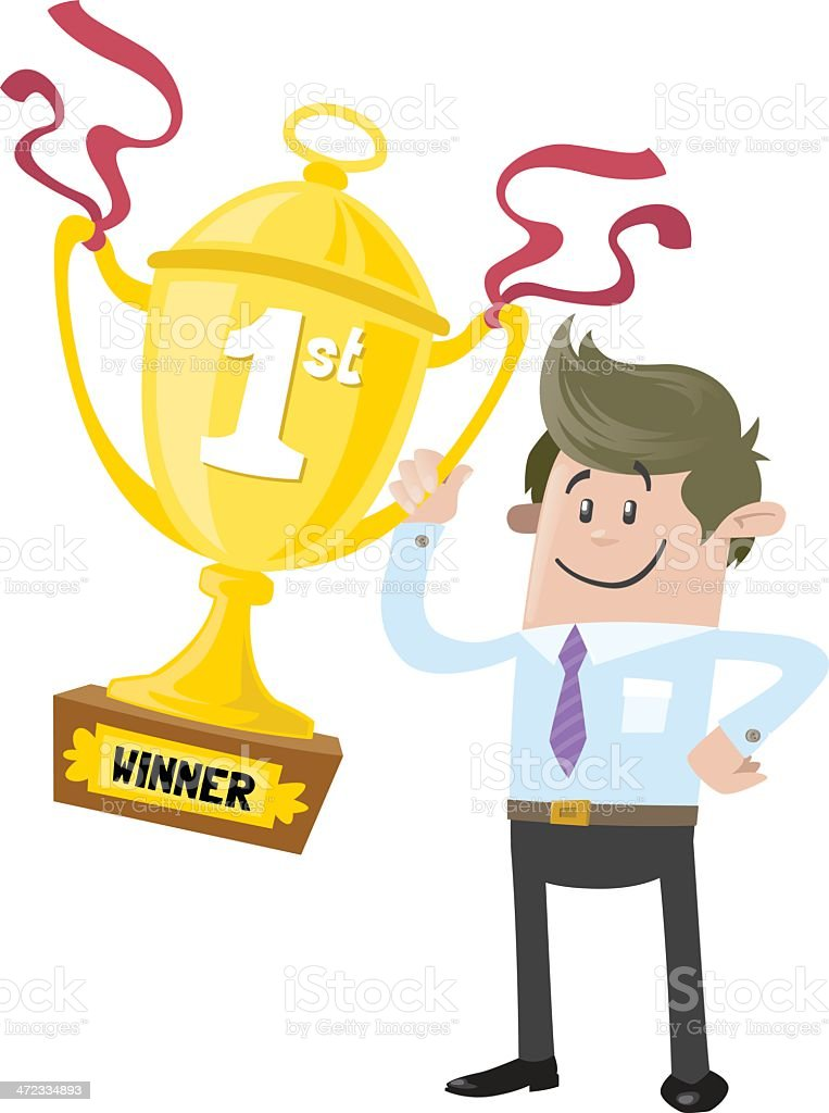 Business Buddy wins a First Prize trophy royalty-free stock vector art