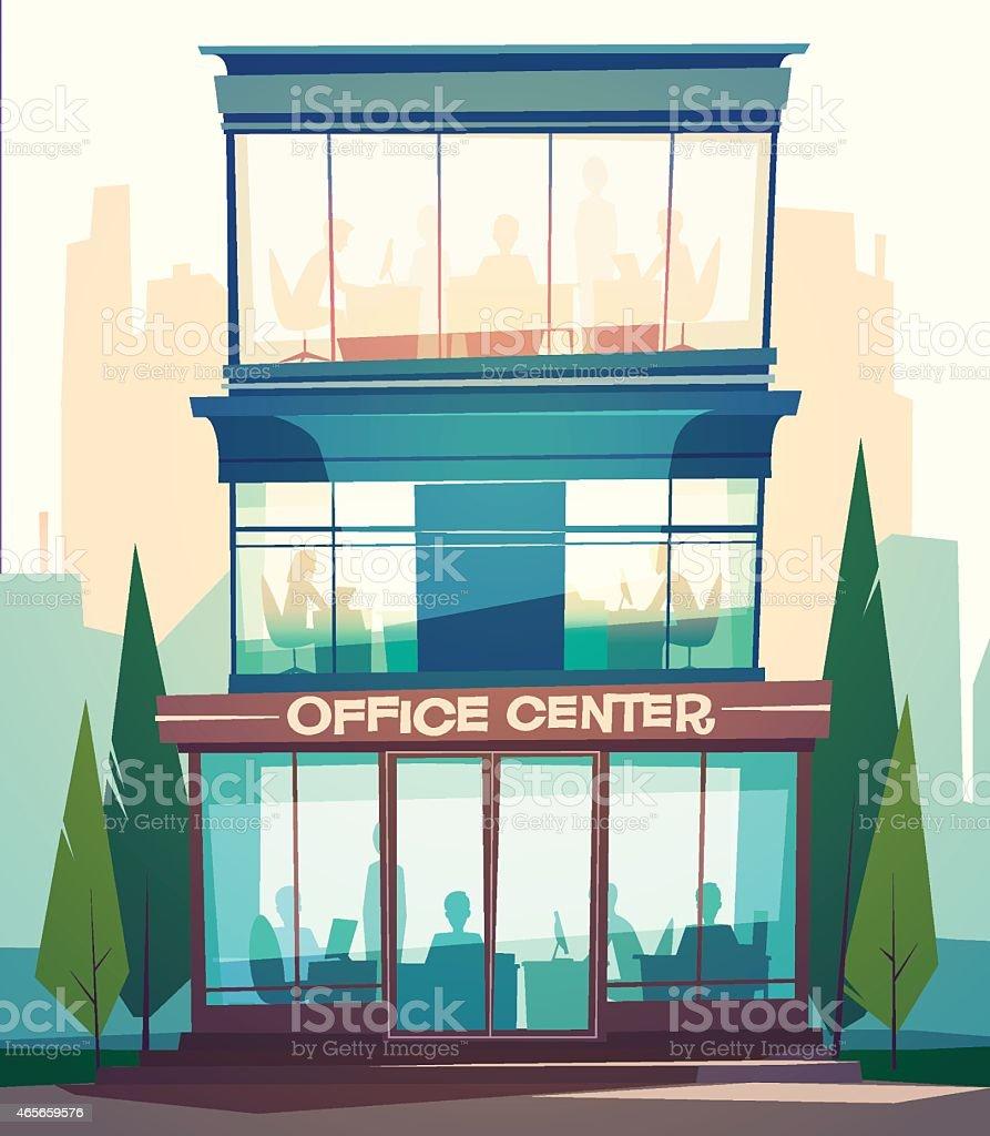 Business building facade. vector art illustration