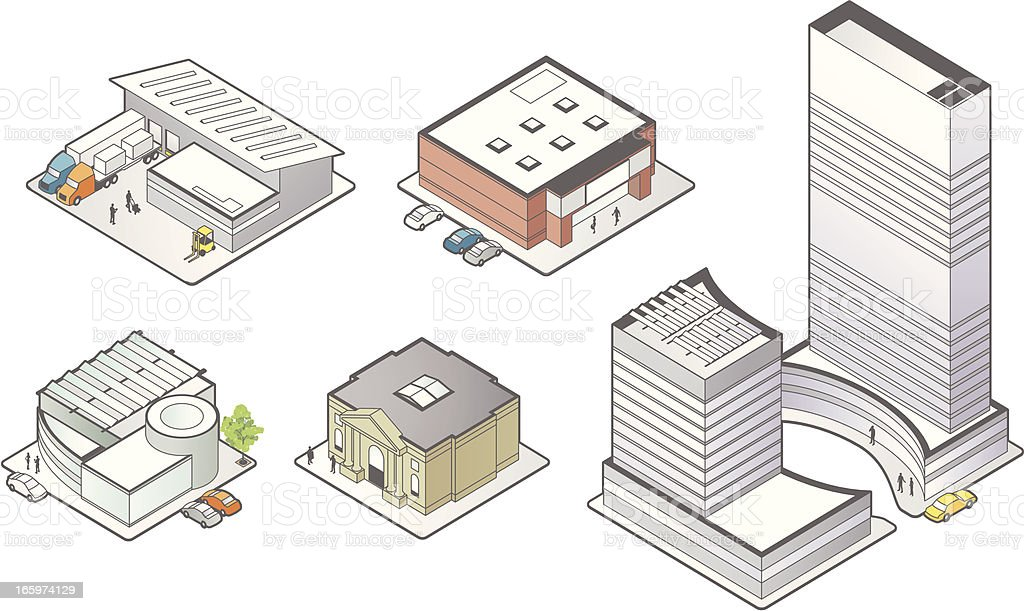Business Building Icons vector art illustration