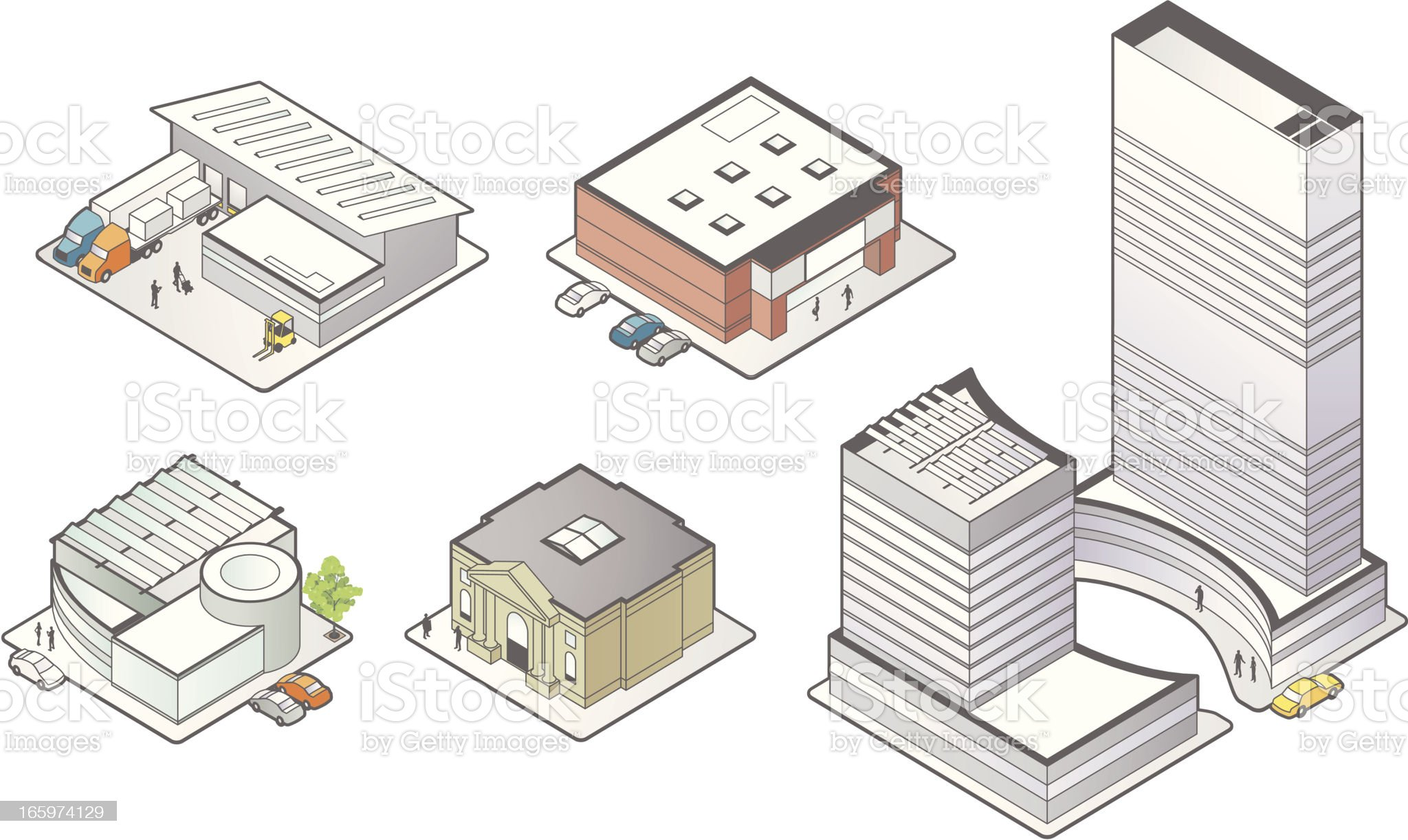 Business Building Icons royalty-free stock vector art