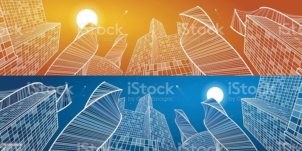 Business building, mega panorama of day and night city. Urban scene,...