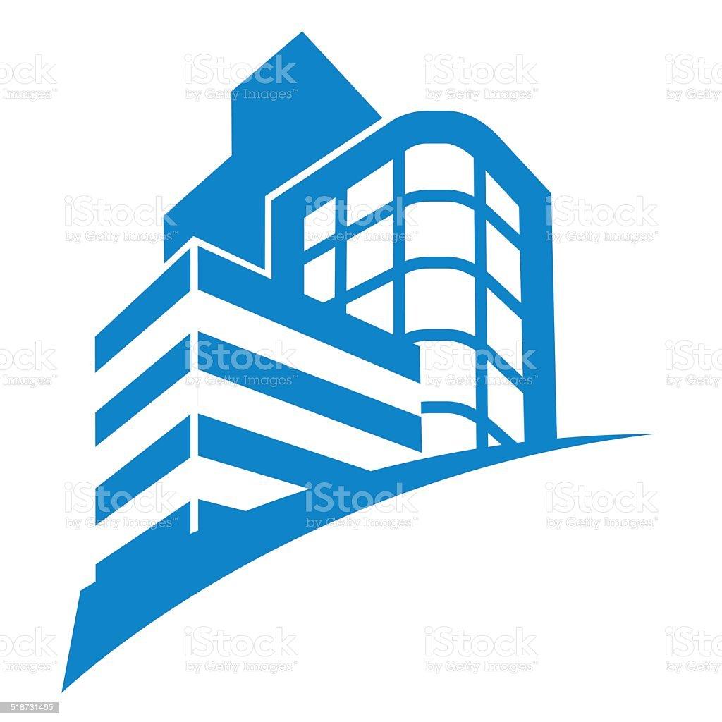 business buildings sign vector art illustration