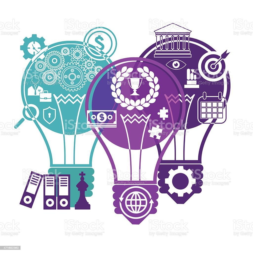 Business bulbs and finance vector art illustration