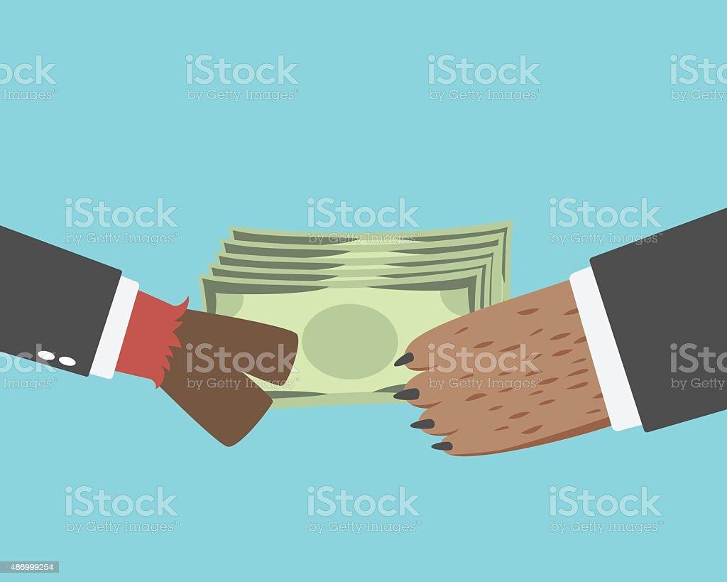 Business Bullman give money to the Business Bearman vector art illustration