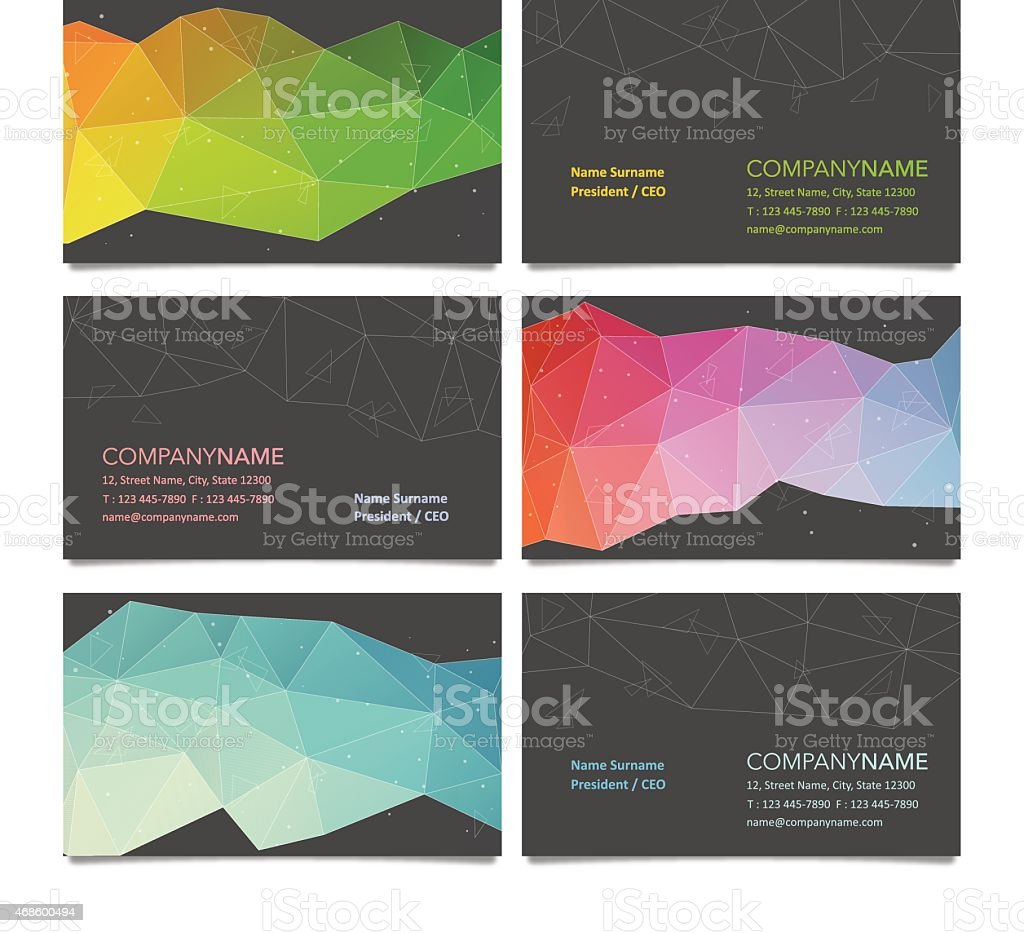 Business card design with polygon backgrounds vector art illustration