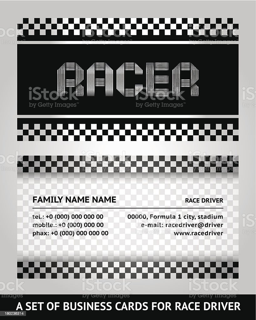 Business card driver race royalty-free stock vector art