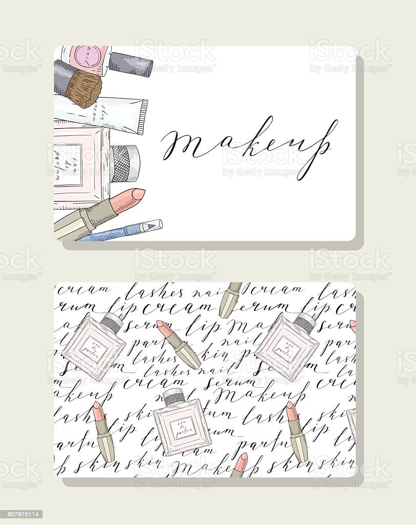 Business card for makeup artist with pattern words about beauty vector art illustration