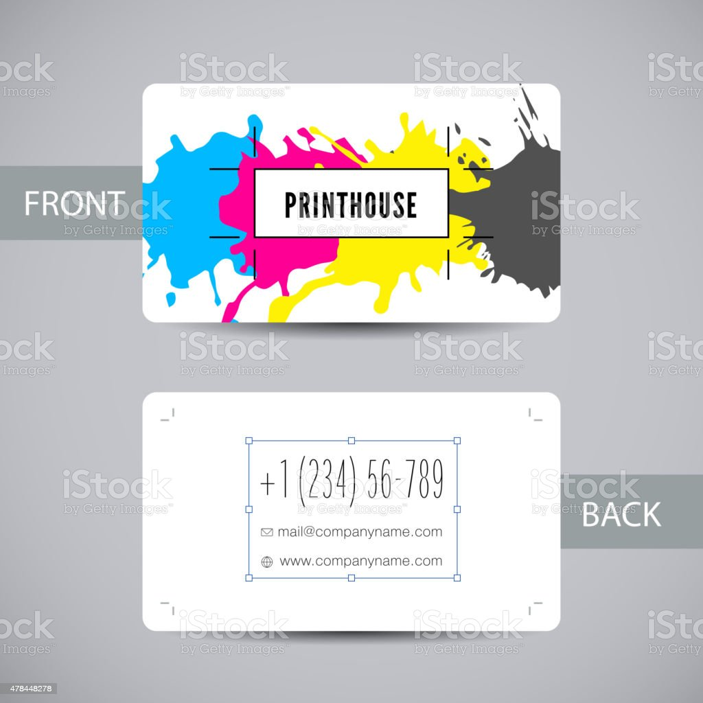 Business card for print house with CMYK ink splashes vector art illustration