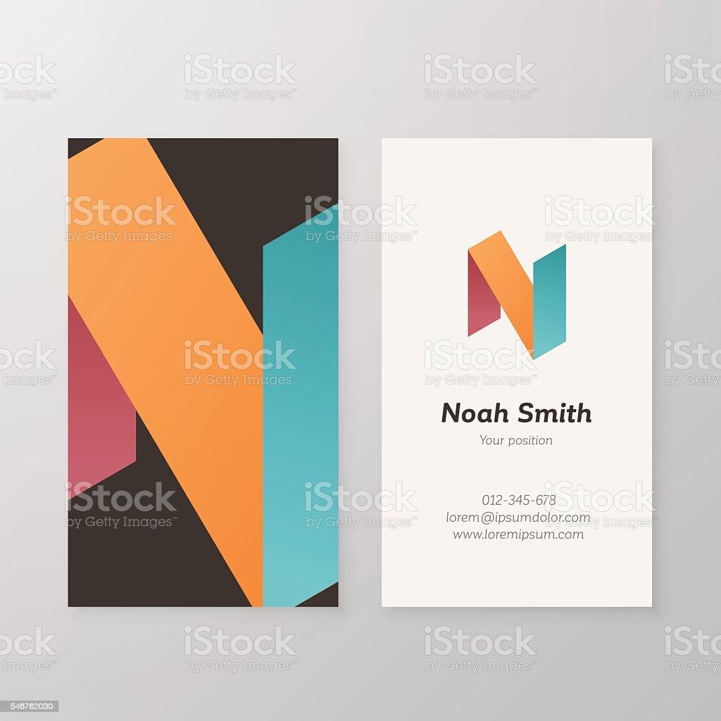 Business card isometric logo letter N vector template. vector art illustration