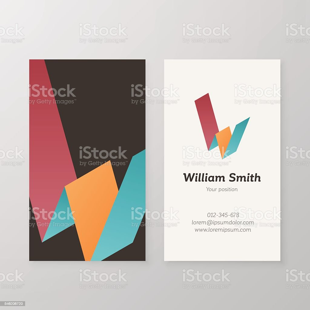 Business card isometric logo letter W vector template. vector art illustration