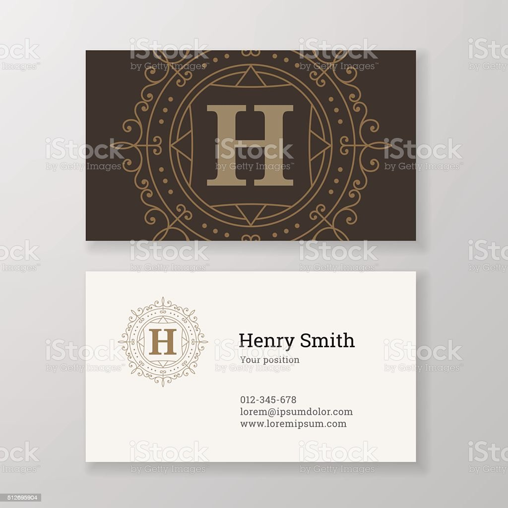 Business card ornament emblem letter H template design. vector art illustration