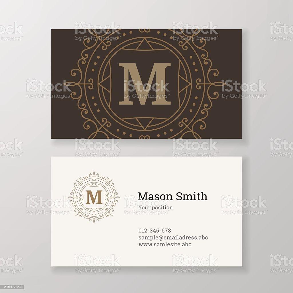 Business card ornament emblem letter M template design. vector art illustration