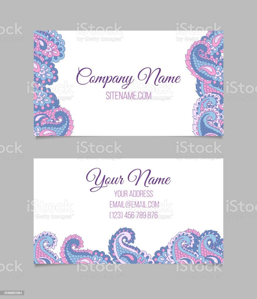 Business Card Template Asian Paisley stock vector art 508882084 | iStock