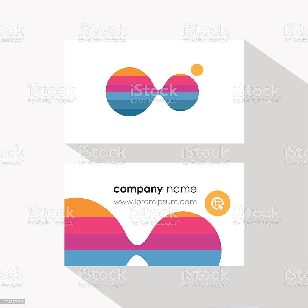 business card template design with multicolored dividing molecule particles vector art illustration