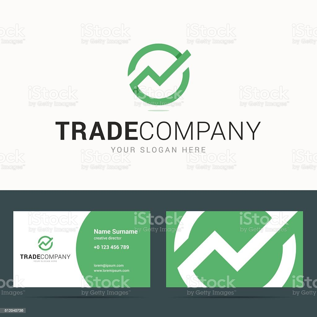 Business card template for trade company. vector art illustration