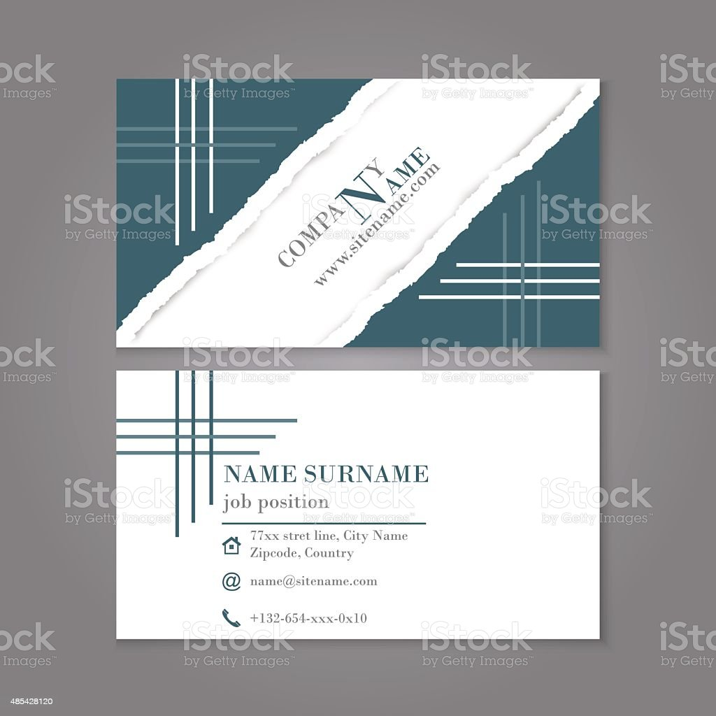 Business Card Template In Vintage Style Torn Paper With Shadow stock ...