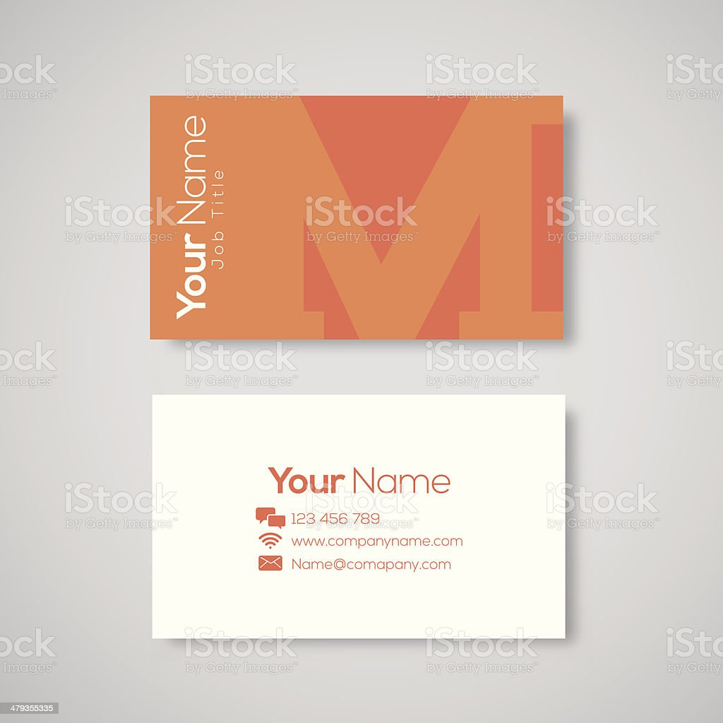 Business card template letter M royalty-free stock vector art