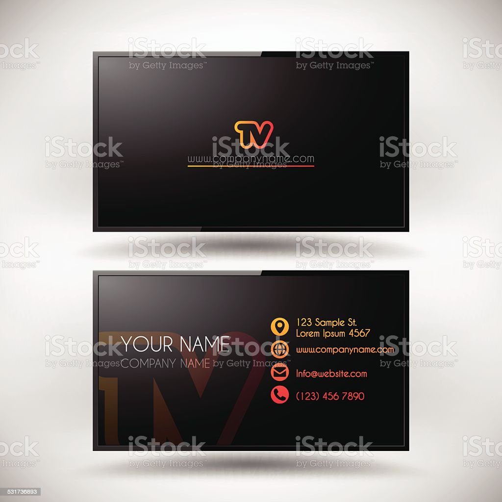 Business Card Template shaped LCD TV Screen vector art illustration