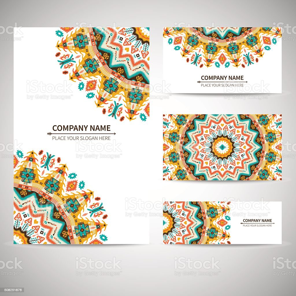 Business card template. Vector illustration in native style vector art illustration