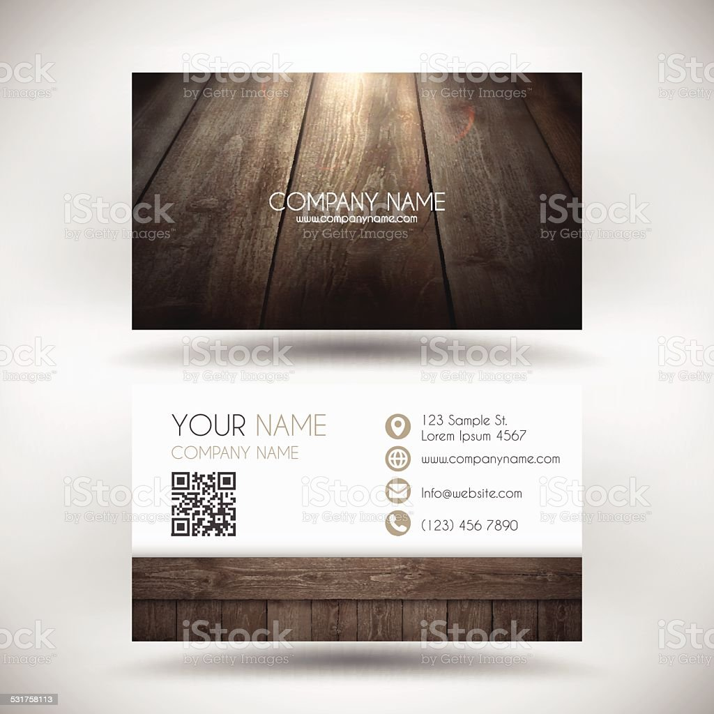 Business Card Template with a Wooden Background vector art illustration