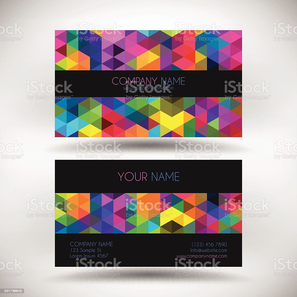 Business Card Template with abstract geometric Background vector art illustration