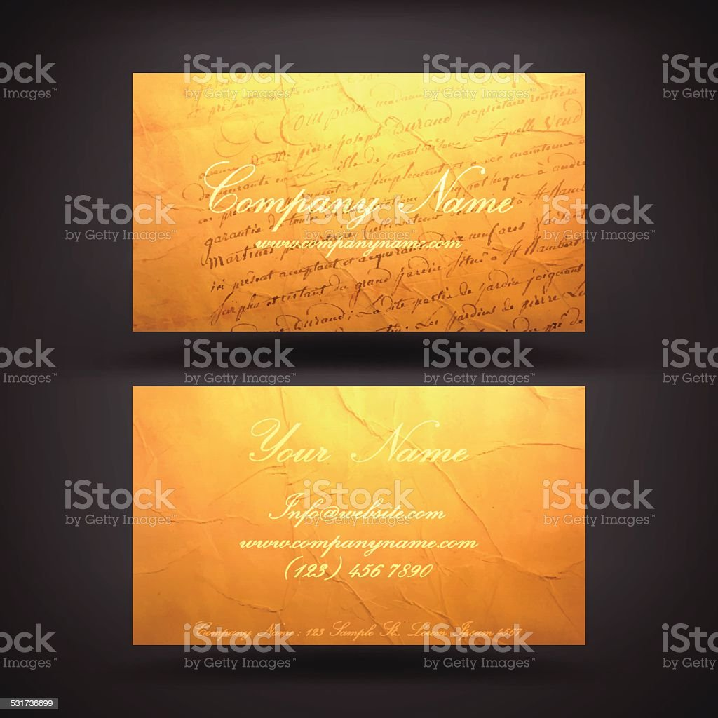 Business Card Template with an Antique Letter Background. vector art illustration