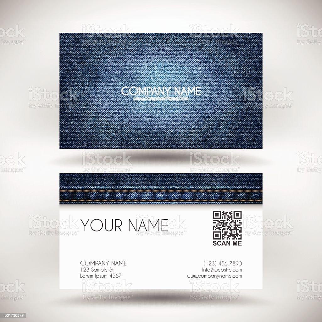 Business Card Template with Blue Denim Texture vector art illustration