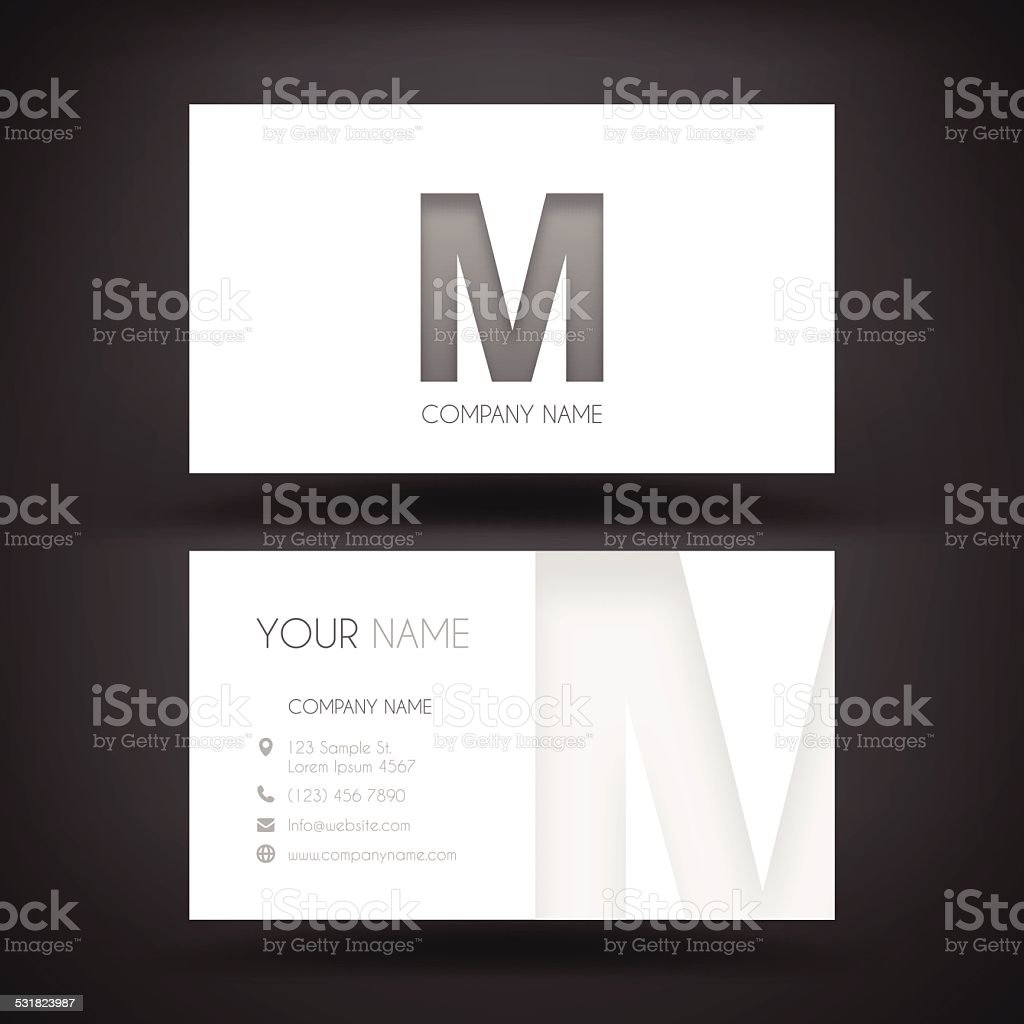 Business Card Template - with letter 'M' vector art illustration