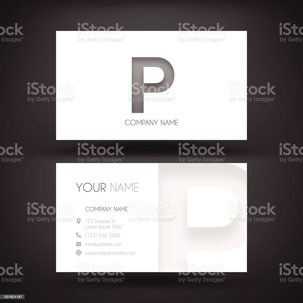 Business Card Template - with letter 'P' vector art illustration