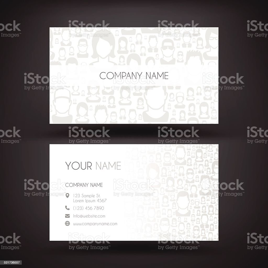 Business Card Template with People vector art illustration