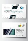 Business card templates. Cover design template, easy editable blank, flat