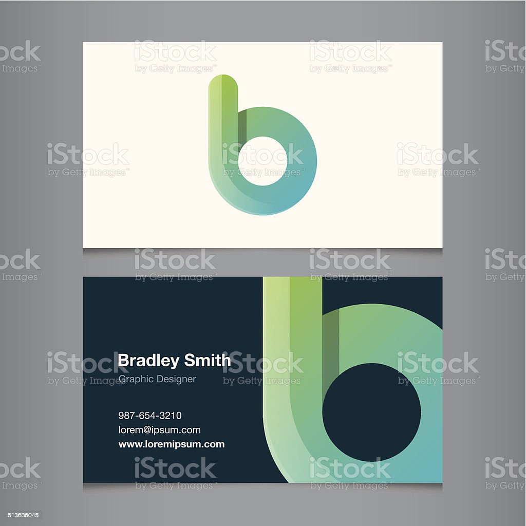 Business card with alphabet letter b vector art illustration