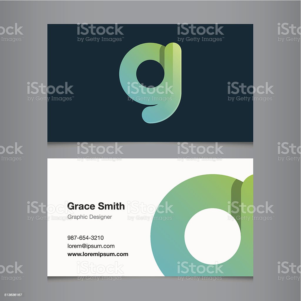Business card with alphabet letter g vector art illustration