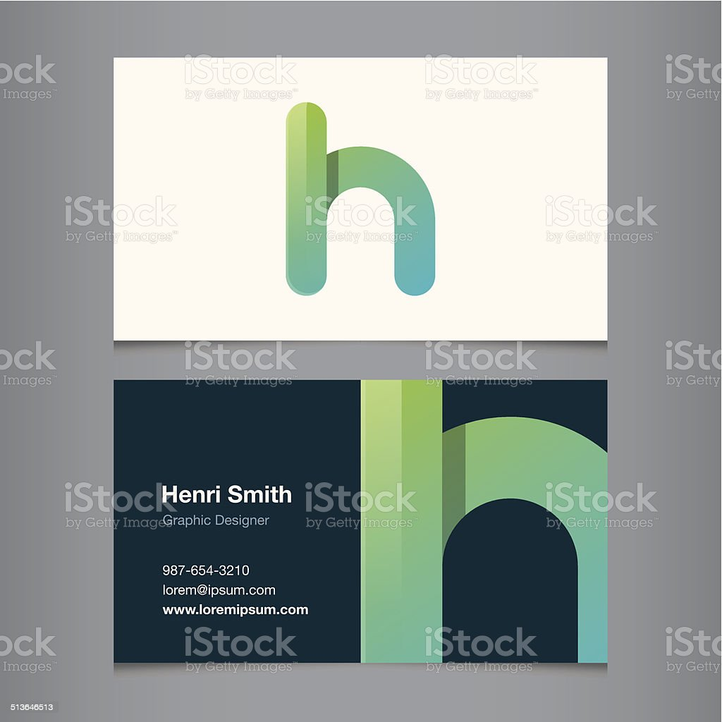 Business card with alphabet letter h vector art illustration