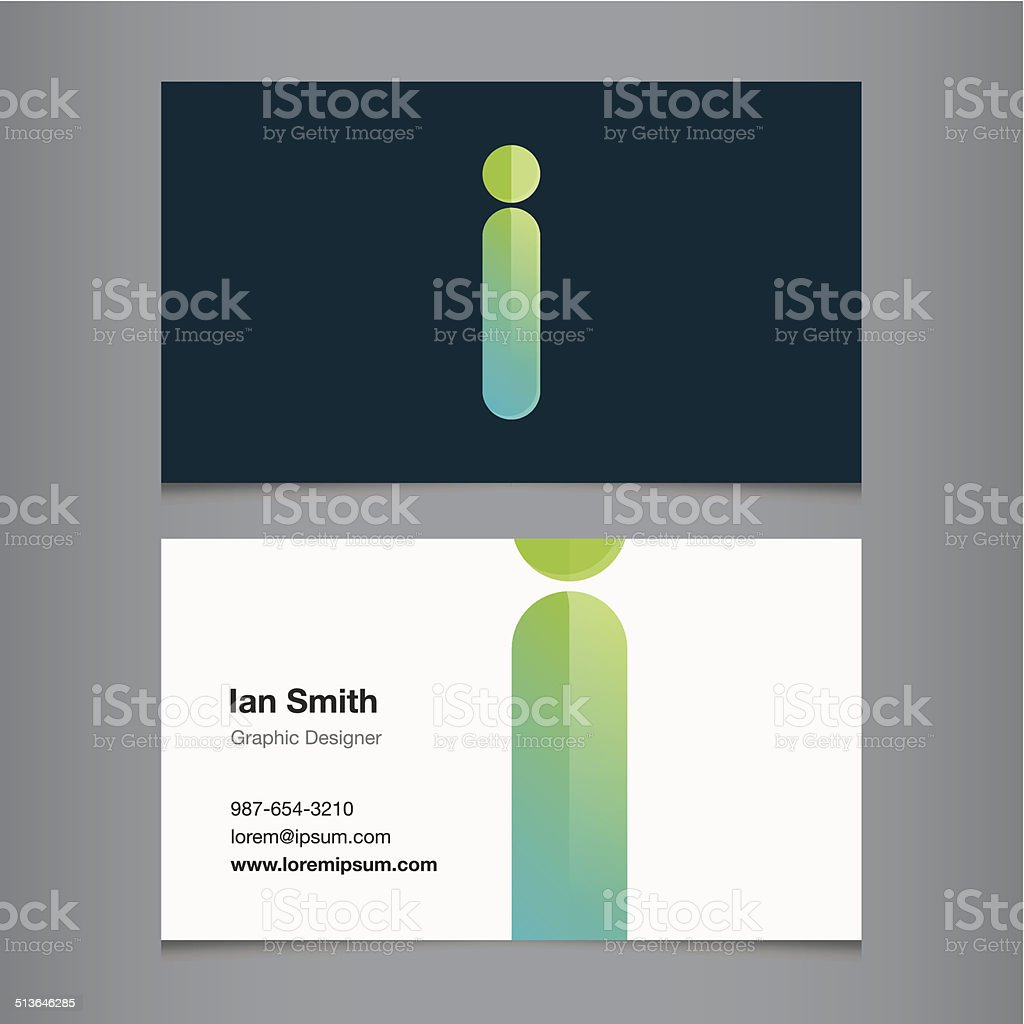 Business card with alphabet letter i vector art illustration