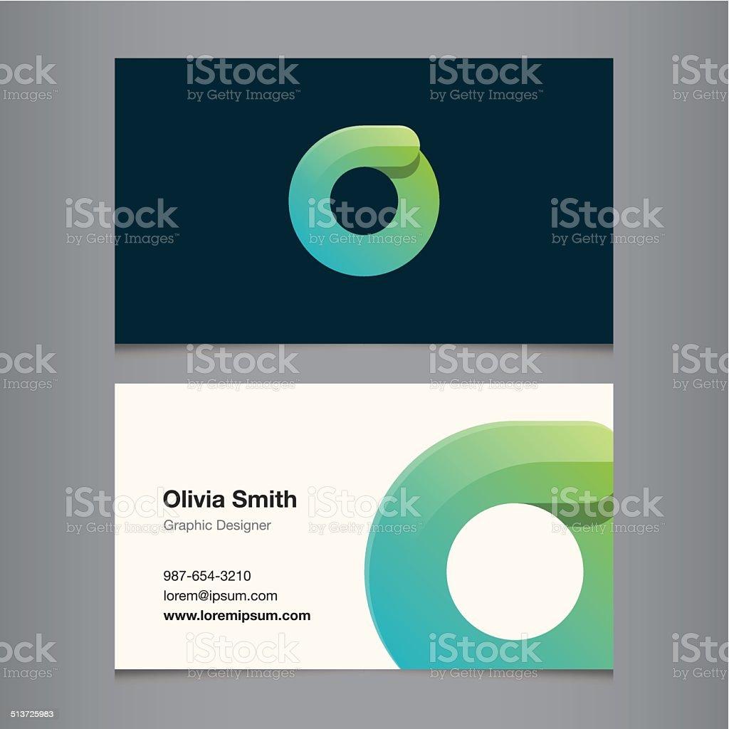 Business card with alphabet letter o vector art illustration