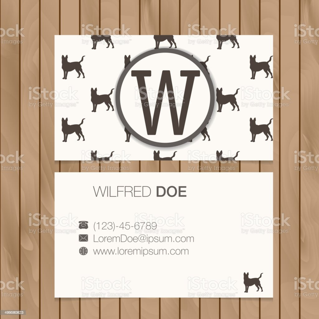 Business card with alphabet letter on a wood background vector art illustration