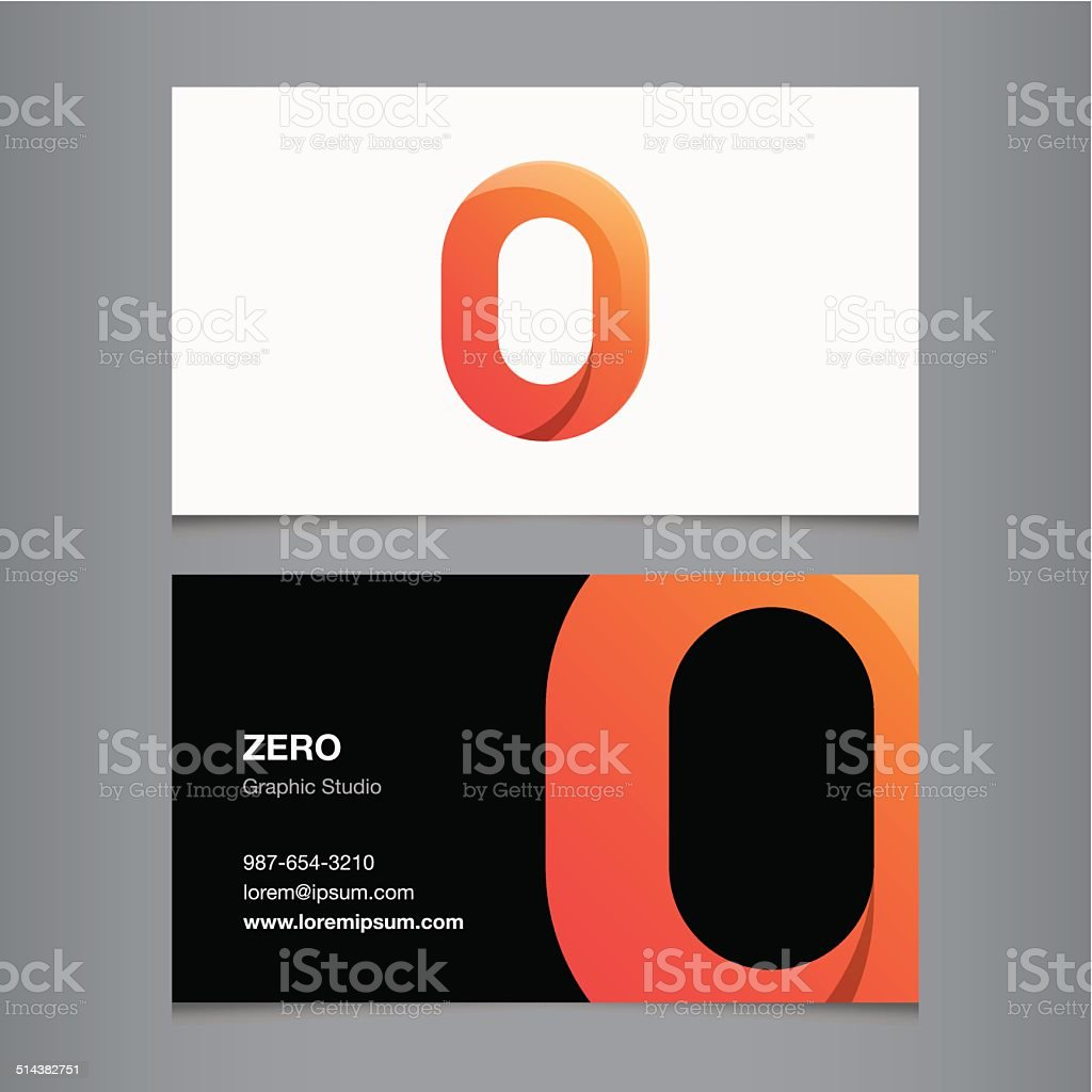 Business card with number zero vector art illustration