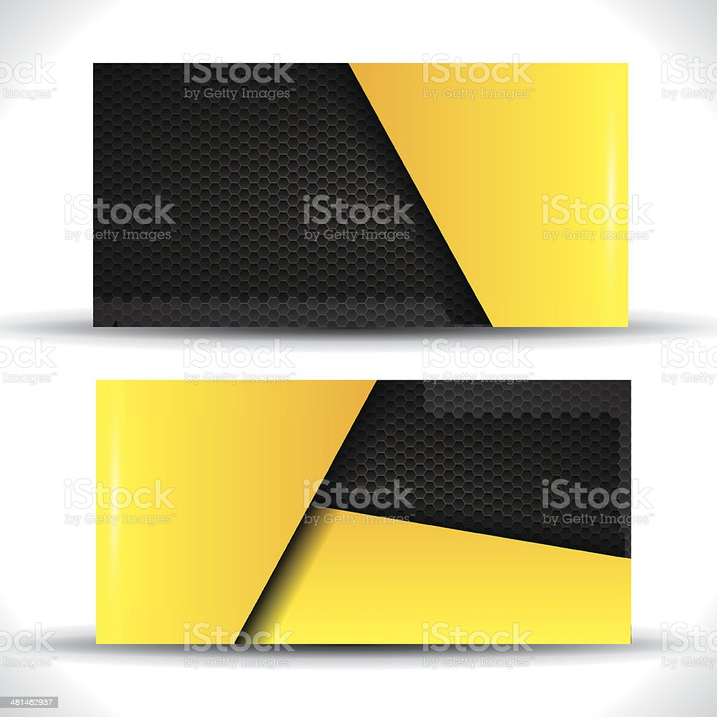 Business card - yellow and black colors vector art illustration