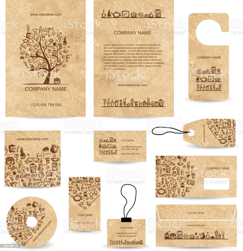 Business cards collection with coffee concept design vector art illustration
