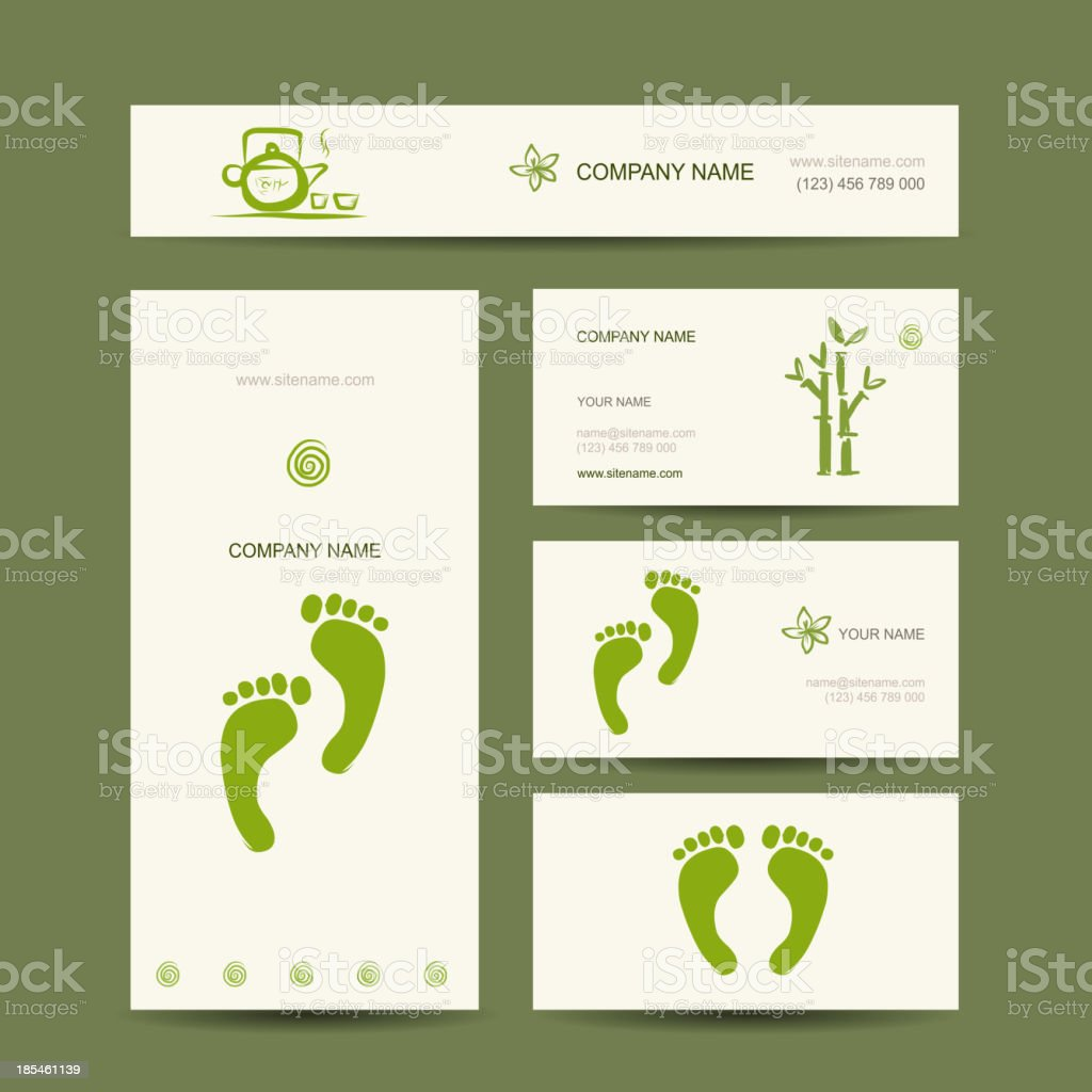 Business cards design, foot massage royalty-free stock vector art
