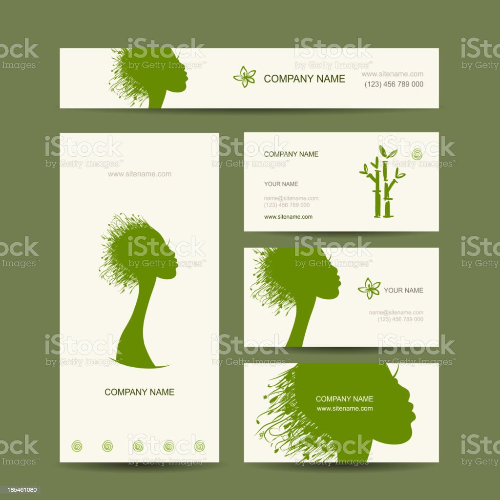 Business cards design, organic hair care concept royalty-free stock vector art
