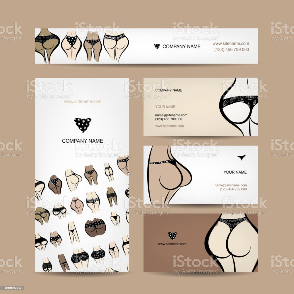 Business cards design with bikini collection royalty-free stock vector art
